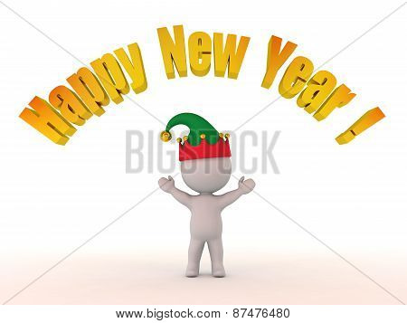 3D Character with Elf Hat and Happy New Year! Text