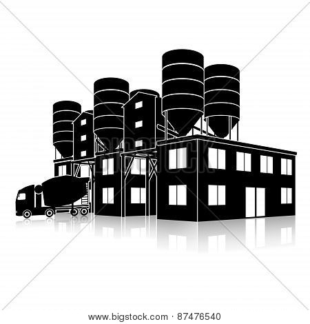 Silhouette Factory Building For The Production Of Concrete With Reflection