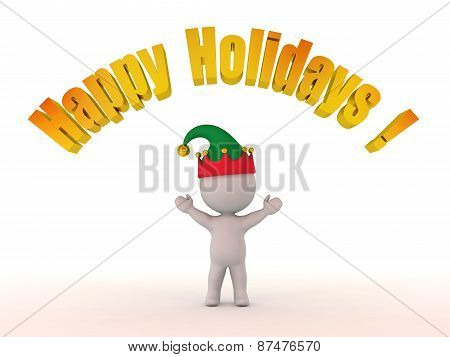 3D Character with Elf Hat and Happy Holidays! Text