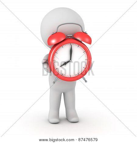 3D Character Holding Alarm Clock