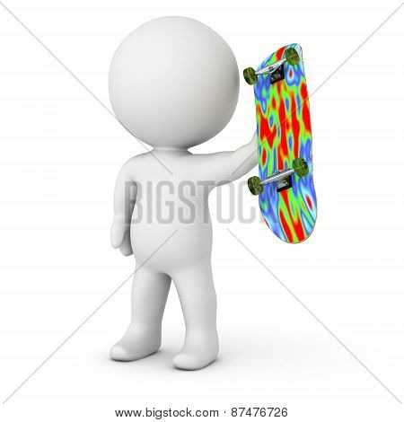 3D Character Holding Skateboard - Sports Concept