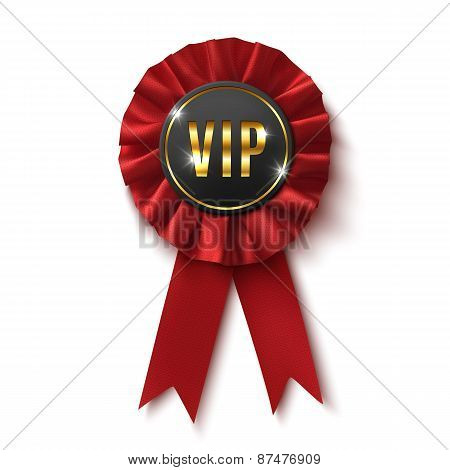 VIP. Realistic,red label, isolated on white background.