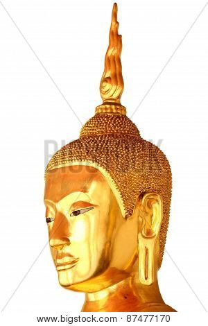 Buddha Head Statue Isolated On White Background