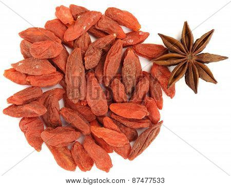 Goji Berrieswith Star Anise Top View Isolated