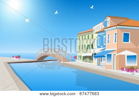 Houses with pool and bridge at sea coast