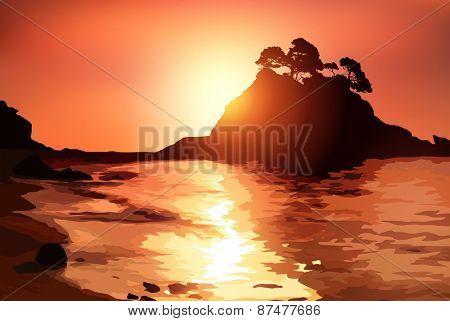 Coast with island at sunset