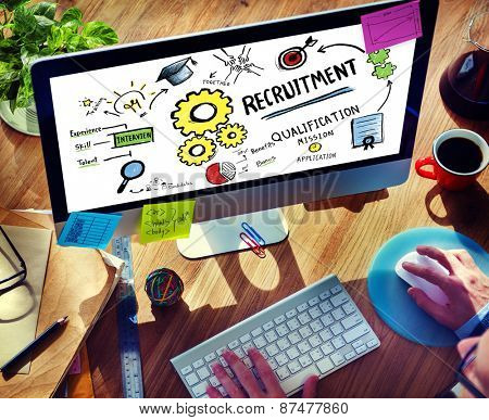 Businessman Recruitment Digital Devices Searching Concept