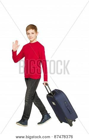 Boy Walking And Waving Hello Holding Travel Bag