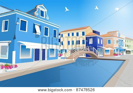 Retro city street with water canal.