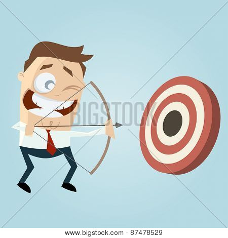 modern businessman with archery bow