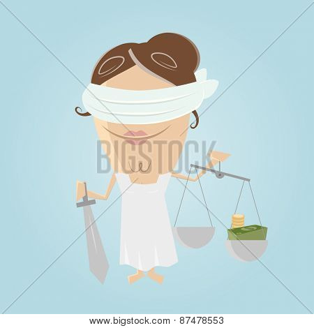 funny corrupted justitia illustration