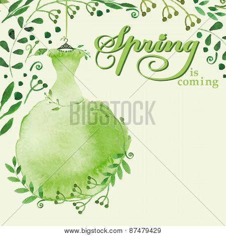 Watercolor Spring background.Green Dress , branches,text