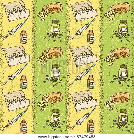 Pills, Capsules And Syringes Seamless Pattern