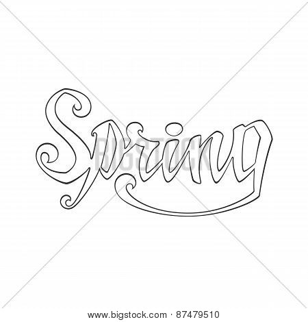 Spring. Calligraphic handwritten word.