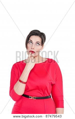Thoughtful Beautiful Plus Size Woman Looking On Something Up