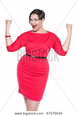 Beautiful Plus Size Woman In Red Dress With Yes Gesture Isolated