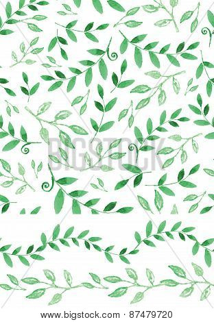 Watercolor seamless pattern,border.Vintagegreen branches
