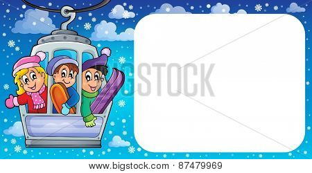 Small frame with cable car theme - eps10 vector illustration.