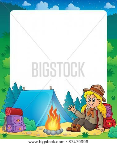 Summer frame with scout girl theme 1 - eps10 vector illustration.