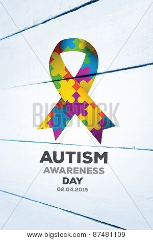Autism awareness day against painted white wooden planks