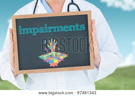 The word impairments and doctor showing chalkboard against field and sky