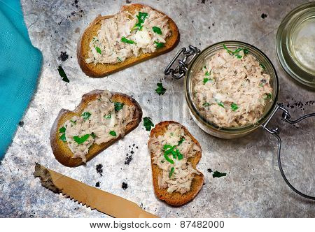 A Mackerel Paste On Toasts From Fried Bread
