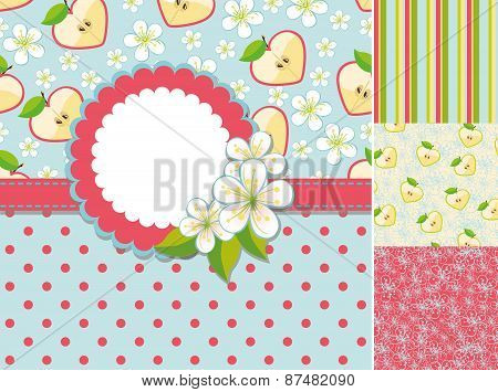 Spring template.Label,flowers,apple,pattern background set