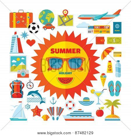 Summer holiday - vector icons set in flat style design. Summer signs collection.