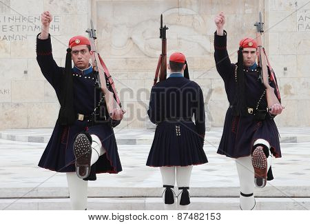 Greek Guards At Parliament