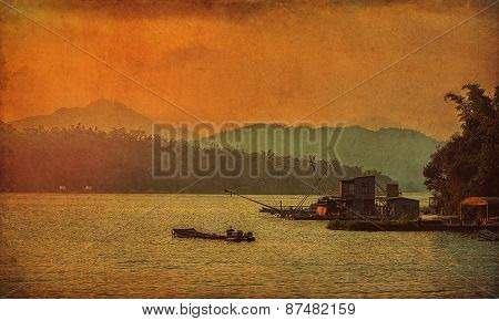 Sunset On The Lake In Grunge Retro Style