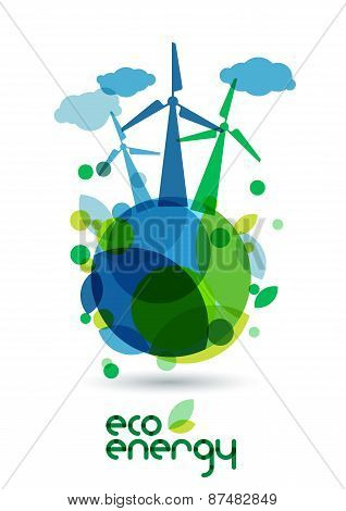 Wind Alternative Energy Generator On The Green Earth. Abstract Vector Illustration. Ecology Backgrou