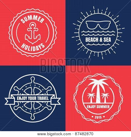 Set Of Sea And Summer Nautical Signs, Badges And Labels. Vector Line Illustration Of Anchor, Sun, Su