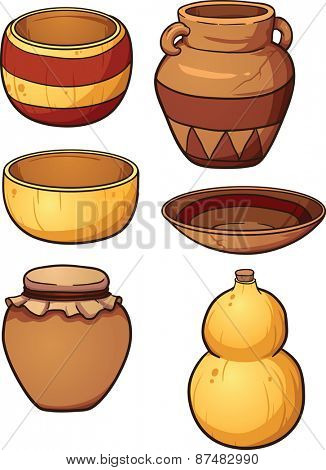 Prehistoric ceramic and dried gourd containers. Vector clip art illustration with single gradients. Each item on a separate layer.