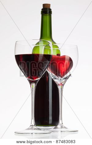 Wine Glasses With Red Wine And Heart