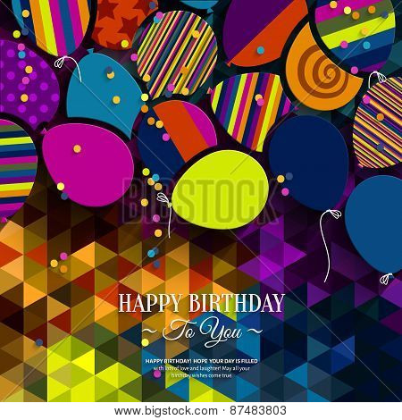 Colorful birthday card with paper balloons on colorful polygon background.