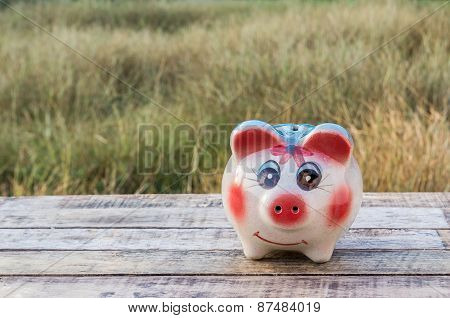 Piggy Bank On Wooden Table Over Blurred Background.