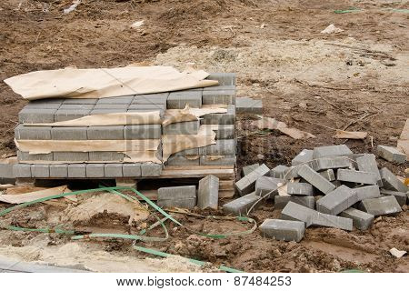 Elements Of Paving Slabs Lying On The Ground