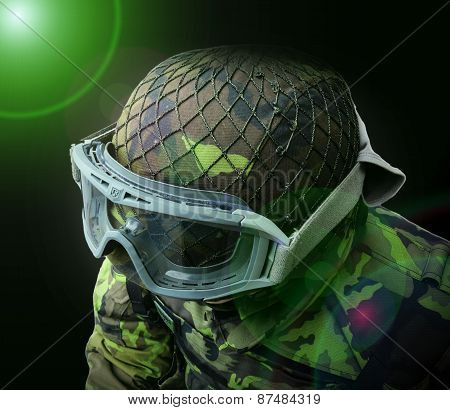 Abstract Airsoft Soldier, View From Above On The Upper Body