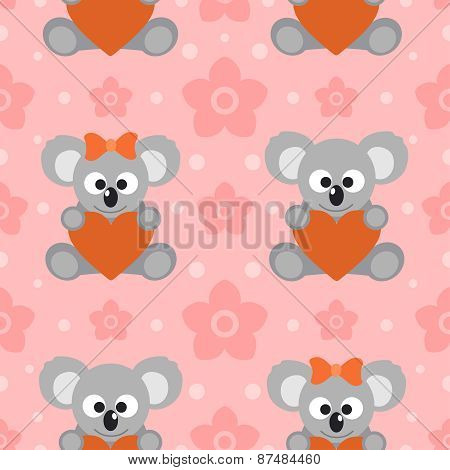 Seamless background card with koalas