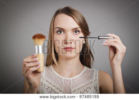 Make-up. Girl In White.