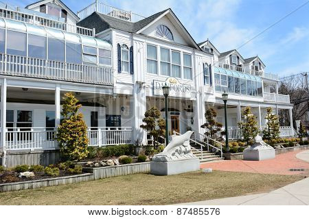 PORT JEFFERSON, NY - April 6, 2015: Danfords Hotel and Marina. On Long Island Sound estuary this upscale accommodation features a spa, seafood restaurant and marina.
