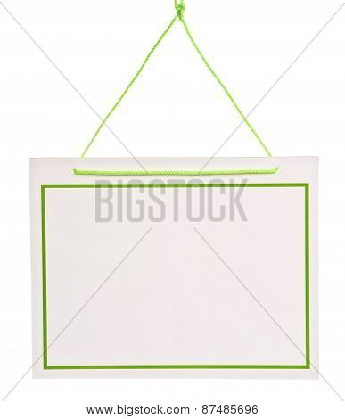 Hanging Blank White Sign With Green Cord