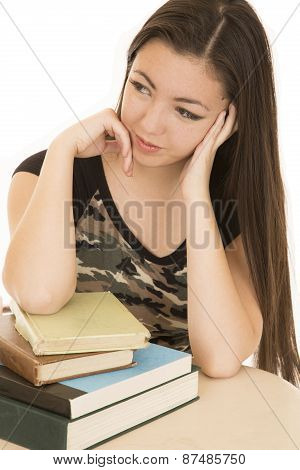 Asian American Teen Sitting At Desk With School Books
