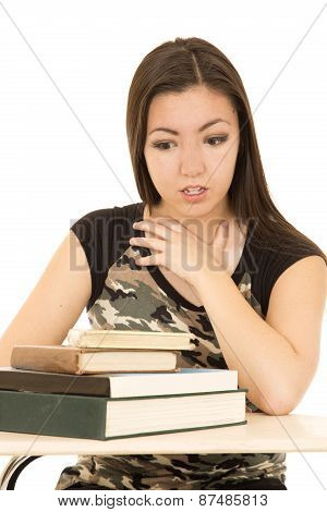 Young Girl Looking At A Pile Of Books Afraid Facial Expression