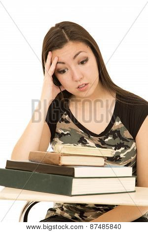 Female Student Overwhelmed With A Pile Of Books
