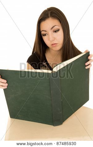 Portrait Of A Student Reading A Text Book