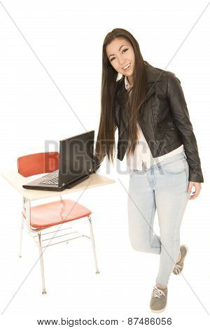 Attractive Asian American Teen Girl Standing By School Desk