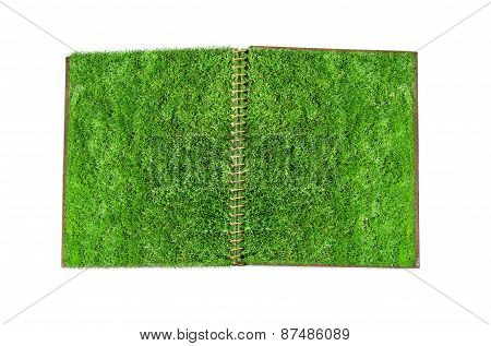 Notebook with green grass page.