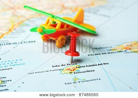 Ibiza   Island ,spain Map Airplane
