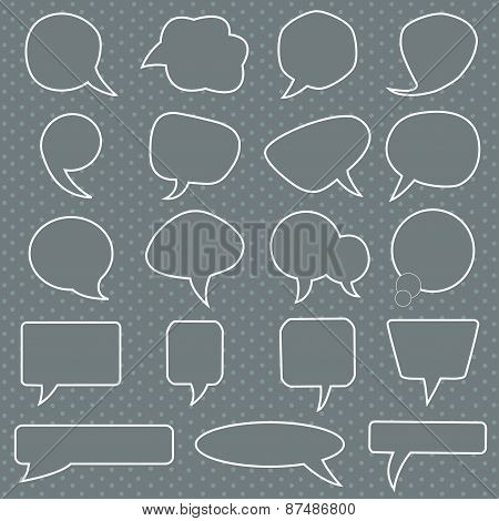Set Of White Speech Bubbles